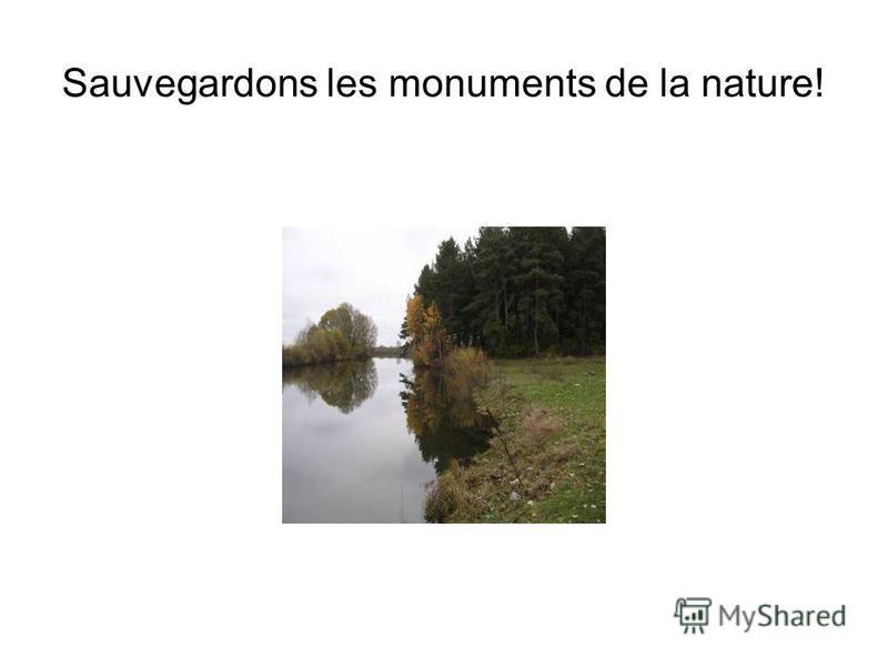 Sauvegardons les monuments de la nature!