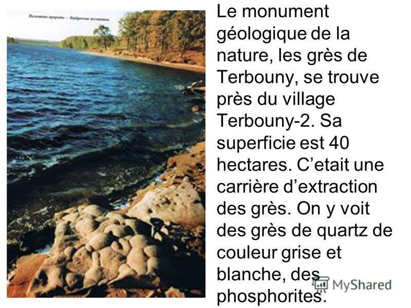 Le monument géologique de la nature, les grès de Terbouny, se trouve près du village Terbouny-2. Sa superficie est 40 hectares. Cetait une carrière dextraction des grès. On y voit des grès de quartz de couleur grise et blanche, des phosphorites.