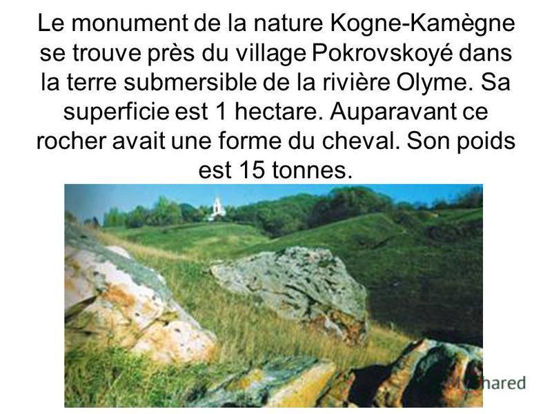 Le monument de la nature Kogne-Kamègne se trouve près du village Pokrovskoyé dans la terre submersible de la rivière Olyme. Sa superficie est 1 hectare. Auparavant ce rocher avait une forme du cheval. Son poids est 15 tonnes.