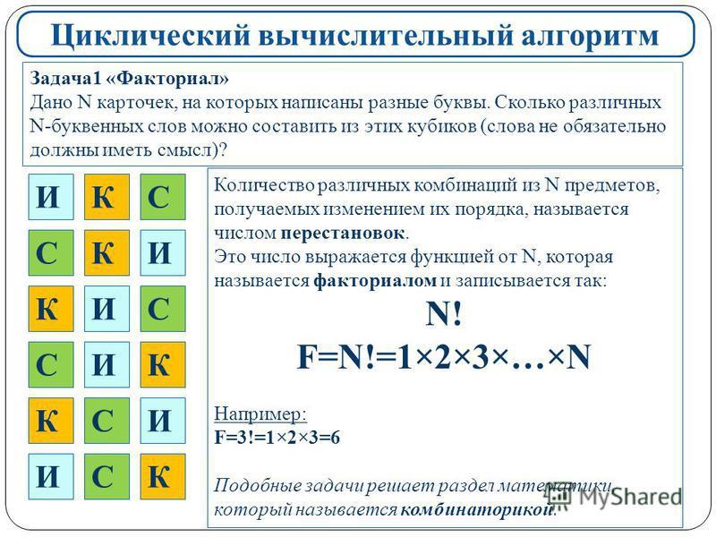 Циклический вычислительный алгоритм Задача 1 «Факториал» Дано N карточек, на которых написаны разные буквы. Сколько различных N-буквенных слов можно составить из этих кубиков (слова не обязательно должны иметь смысл)? И Количество различных комбинаци