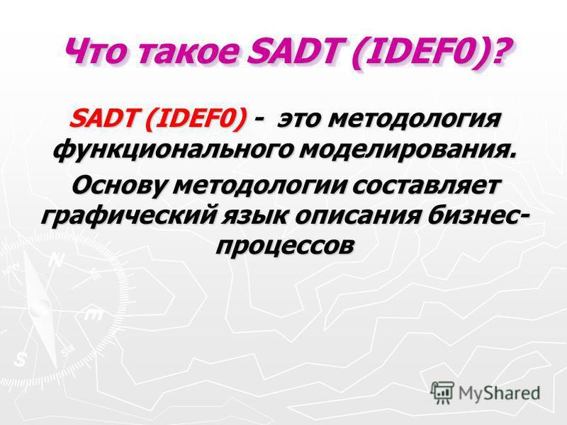Что такое SADT (IDEF0)? SADT (IDEF0) - это методология функционального моделирования. Основу методологии составляет графический язык описания бизнес- процессов