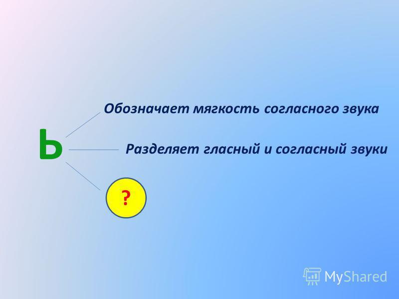 Ь Обозначает мягкость согласного звука Разделяет гласный и согласный звуки ?