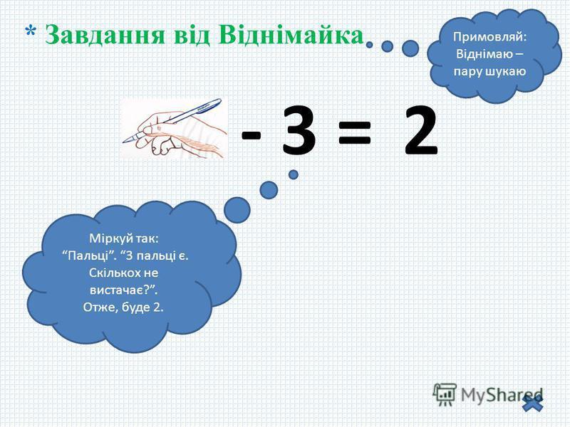 * Завдання від Віднімайка Примовляй: Віднімаю – пару шукаю 5 - 3 = Міркуй так: Пальці. 3 пальці є. Скількох не вистачає?. Отже, буде 2. 2