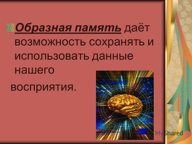 Образная память даёт возможность сохранять и использовать данные нашего восприятия.
