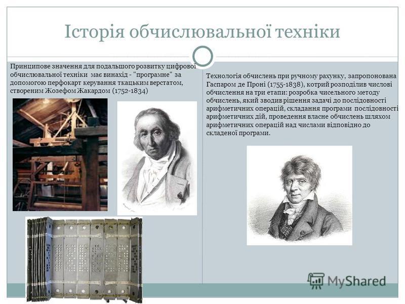 Історія обчислювальної техніки Принципове значення для подальшого розвитку цифрової обчислювальної технiки має винахід -