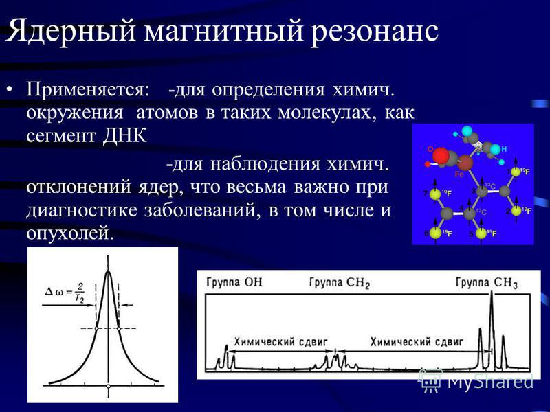 Ядерный магнитный резонанс Применяется: -для определения химия. окружения атомов в таких молекулах, как сегмент ДНК -для наблюдения химия. отклонений ядер, что весьма важно при диагностике заболеваний, в том числе и опухолей.