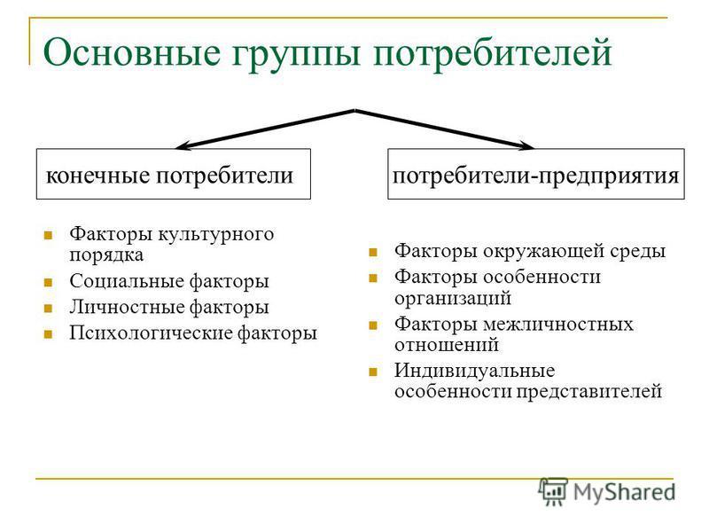 Основные группы потребителей Факторы культурного порядка Социальные факторы Личностные факторы Психологические факторы Факторы окружающей среды Факторы особенности организаций Факторы межличностных отношений Индивидуальные особенности представителей