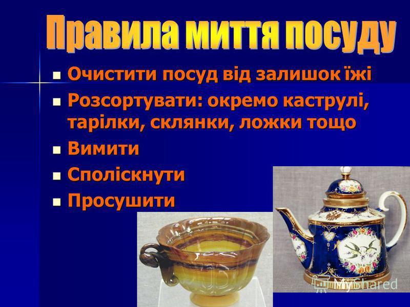 Очистити посуд від залишок їжі Розсортувати: окремо каструлі, тарілки, склянки, ложки тощо Вимити Споліскнути Просушити
