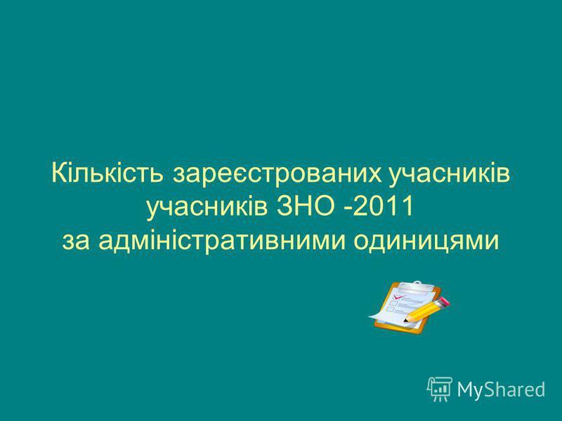Кількість зареєстрованих учасників учасників ЗНО -2011 за адміністративними одиницями