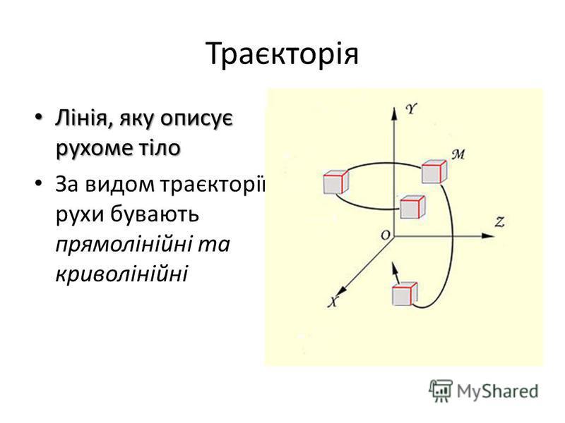 Траєкторія Лінія, яку описує рухоме тіло Лінія, яку описує рухоме тіло За видом траєкторії рухи бувають прямолінійні та криволінійні
