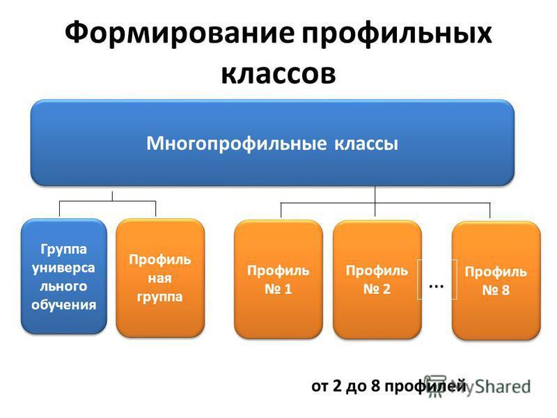 Формирование профильных классов Группа универсального обучения Многопрофильные классы Профиль ная группа Профиль 1 Профиль 2 Профиль 8 … от 2 до 8 профилей