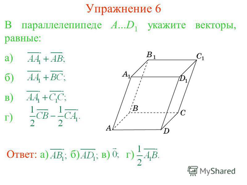 Упражнение 6 Ответ: а)б)в) г) В параллелепипеде A...D 1 укажите векторы, равные: а) б) в) г)