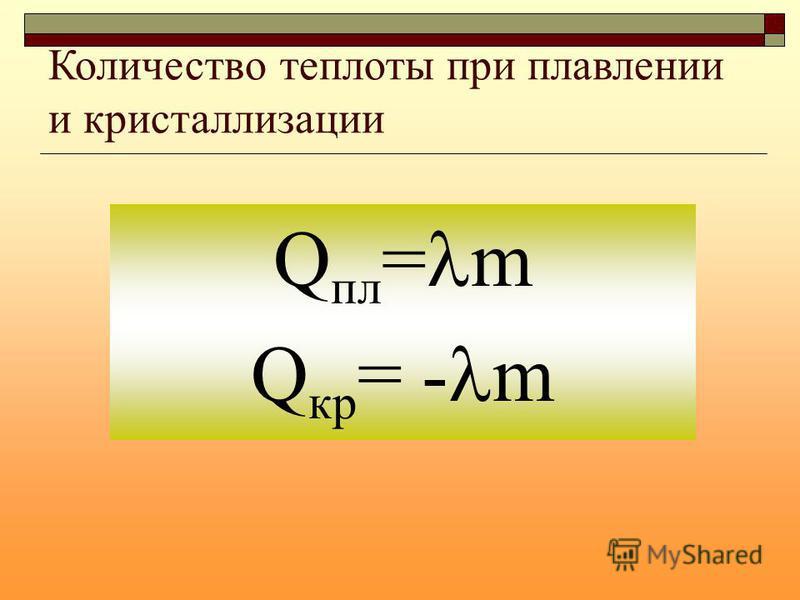Количество теплоты при плавлении и кристаллизации Q пл = m Q кр = - m