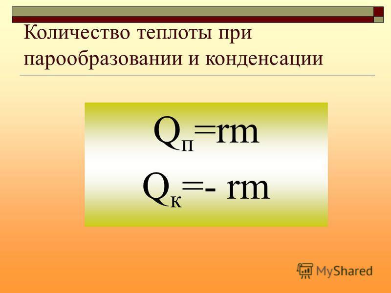 Количество теплоты при парообразовании и конденсации Q п =rm Q к =- rm