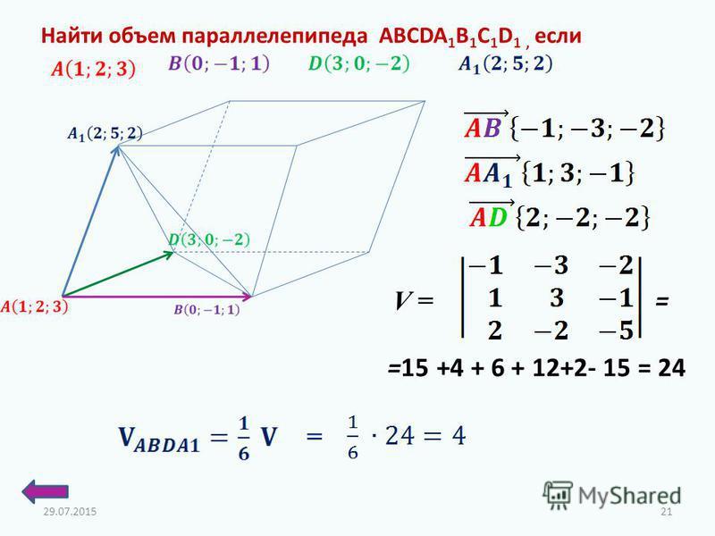 Найти объем параллелепипеда ABCDA 1 B 1 C 1 D 1, если =15 +4 + 6 + 12+2- 15 = 24 V = = = 29.07.201521