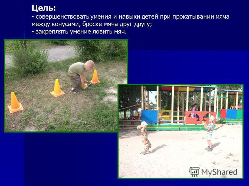 Цель: - совершенствовать умения и навыки детей при прокатывании мяча между конусами, броске мяча друг другу; - закреплять умение ловить мяч.