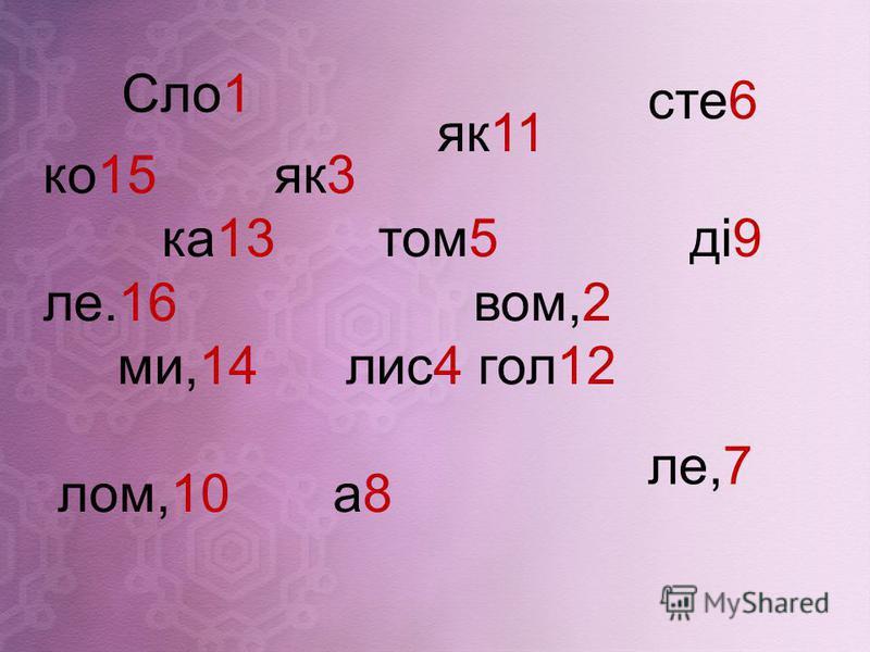 ко15 як3 ка13 том5 ді9 ле.16 вом,2 ми,14 лис4 гол12 лом,10 а8 Сло1 як11 сте6 ле,7