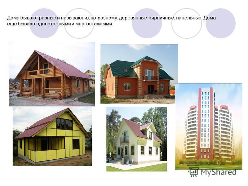 Дома бывают разные и называют их по-разному: деревянные, кирпичные, панельные. Дома ещё бывают одноэтажными и многоэтажными.