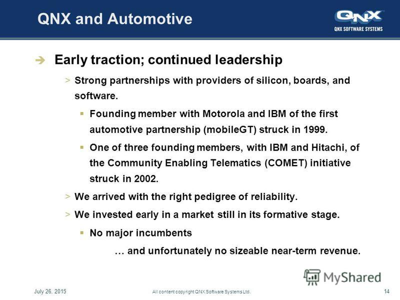 14July 26, 2015 All content copyright QNX Software Systems Ltd. QNX and Automotive Early traction; continued leadership >Strong partnerships with providers of silicon, boards, and software. Founding member with Motorola and IBM of the first automotiv