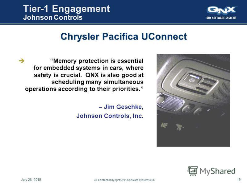 19July 26, 2015 All content copyright QNX Software Systems Ltd. Tier-1 Engagement Johnson Controls Memory protection is essential for embedded systems in cars, where safety is crucial. QNX is also good at scheduling many simultaneous operations accor