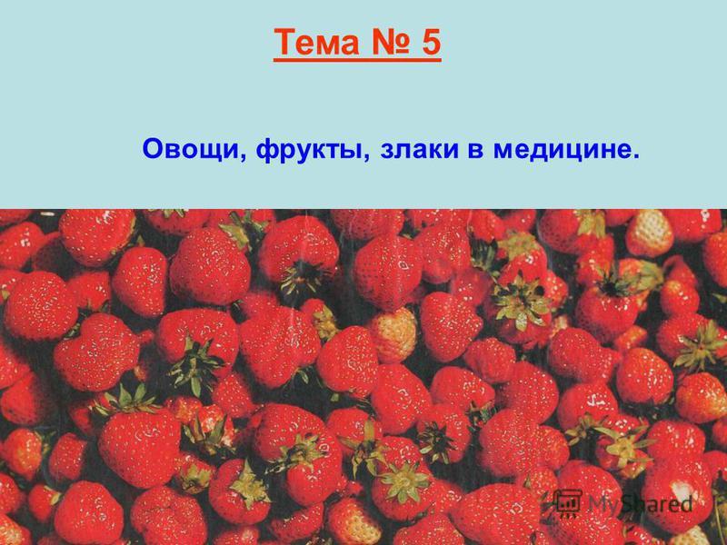 Тема 5 Овощи, фрукты, злаки в медицине.