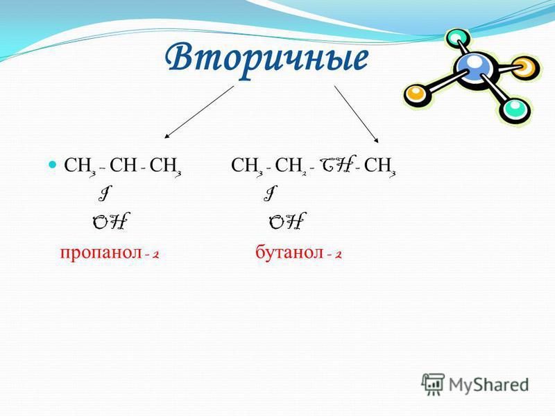 СН 3 - ОН СН 3 - СН 2 - ОН СН 3 - СН 2 - СН 2 - ОН метанол этанол пропанол -1 ( метиловый спирт ) ( этиловый спирт ) СН 3 - СН 2 - СН 2 -C Н 2 -OH бутанол -1 Первичные