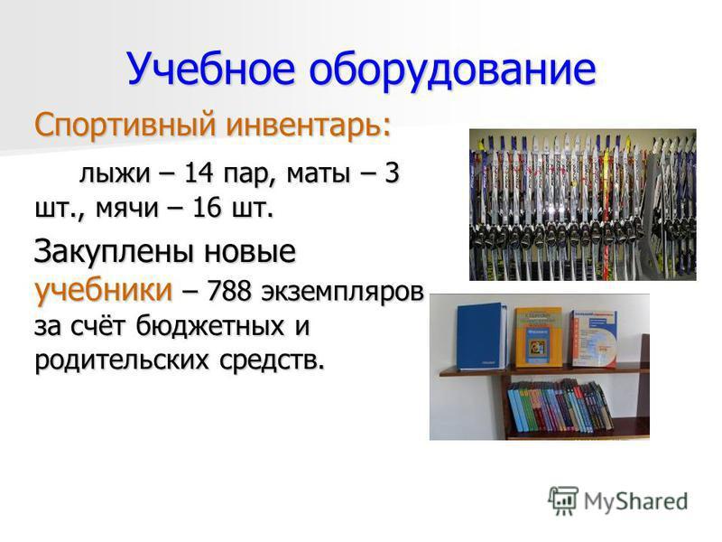 Учебное оборудование Спортивный инвентарь: лыжи – 14 пар, маты – 3 шт., мячи – 16 шт. Закуплены новые учебники – 788 экземпляров за счёт бюджетных и родительских средств.