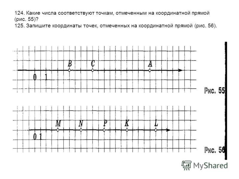 124. Какие числа соответствуют точкам, отмеченным на координатной прямой (рис. 55)? 125. Запишите координаты точек, отмеченных на координатной прямой (рис. 56).