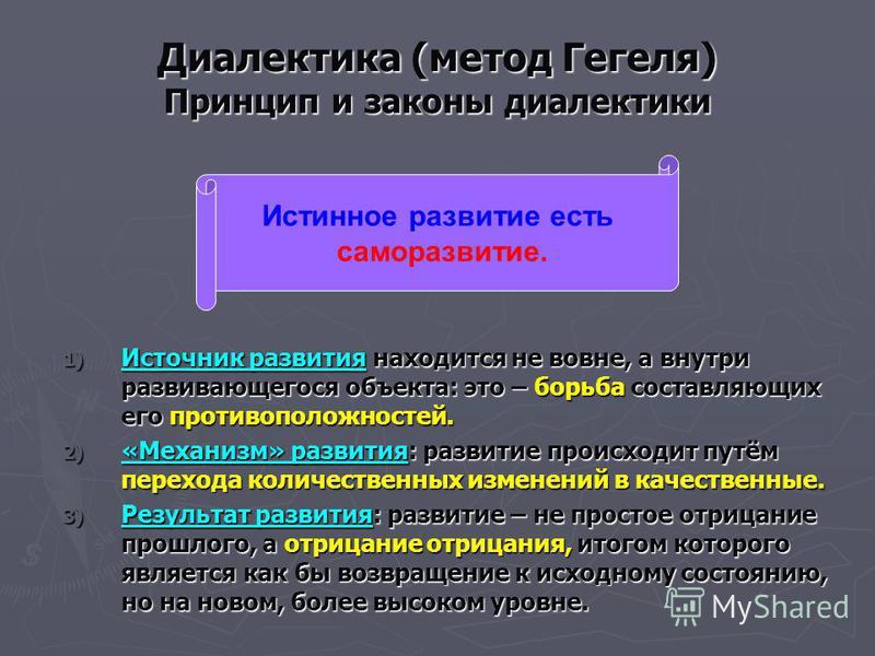 Диалектика (метод Гегеля) Принцип и законы диалектики 1) Источник развития находится не вовне, а внутри развивающегося объекта: это – борьба составляющих его противоположностей. 2) «Механизм» развития: развитие происходит путём перехода количественны