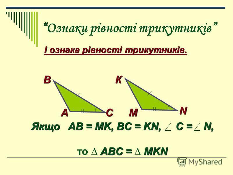 Ознаки рівності трикутників І ознака рівності трикутників. А В С К М N Якщо AB = MK, BC = KN, C = N, ABC = MKN то ABC = MKN