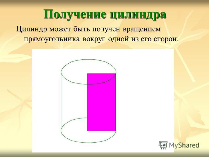 Цилиндр может быть получен вращением прямоугольника вокруг одной из его сторон. Получение цилиндра