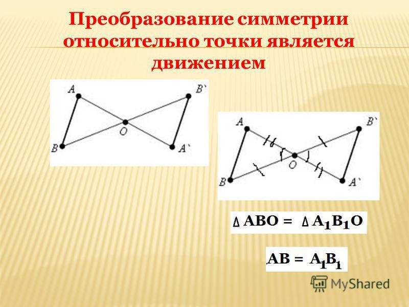 Преобразование симметрии относительно точки является движением