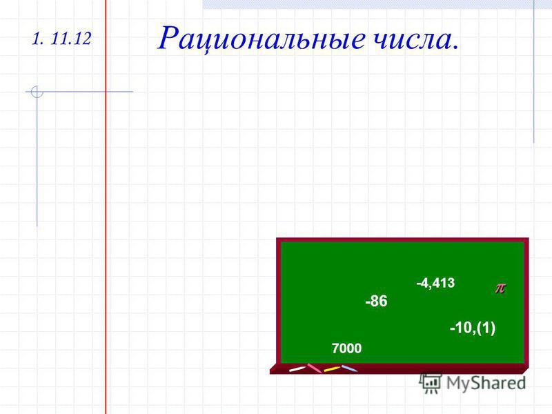 1. 11.12 Рациональные числа. -86-86 -4,413 -10,(1) 7000