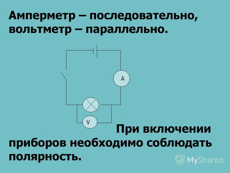 V A Амперметр – последовательно, вольтметр – параллельно. При включении приборов необходимо соблюдать полярность.