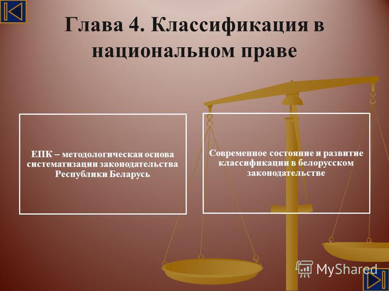 Глава 4. Классификация в национальном праве ЕПК – методологическая основа систематизации законодательства Республики Беларусь Современное состояние и развитие классификации в белорусском законодательстве