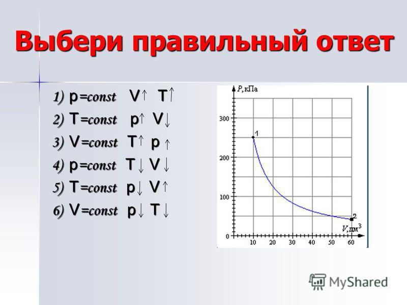 Выбери правильный ответ 1) p =const V T 2) T =const p V 3) V =const T p 4) p =const T V 5) T =const p V 6) V =const p T