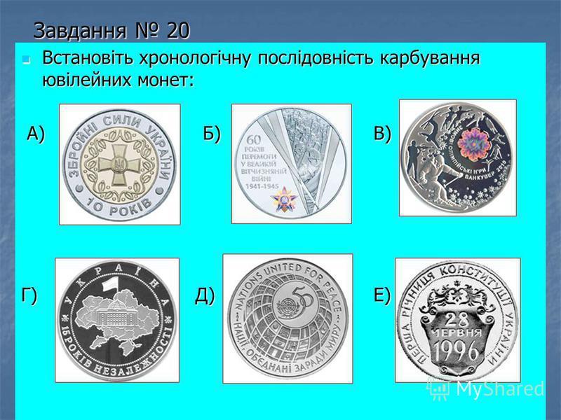 Завдання 20 Встановіть хронологічну послідовність карбування ювілейних монет: Встановіть хронологічну послідовність карбування ювілейних монет: А) Б) В) А) Б) В) Г) Д) Е)