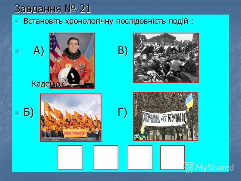 Завдання 21 Встановіть хронологічну послідовність подій : Встановіть хронологічну послідовність подій : А) В) А) В) Б) Г) Б) Г) Каденюк