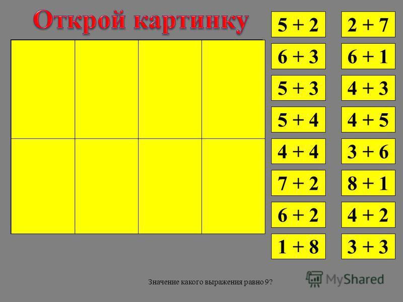 5 + 2 6 + 3 2 + 7 5 + 3 5 + 4 4 + 4 7 + 2 6 + 2 1 + 8 6 + 1 4 + 3 4 + 5 3 + 6 8 + 1 4 + 2 3 + 3 Значение какого выражения равно 9?