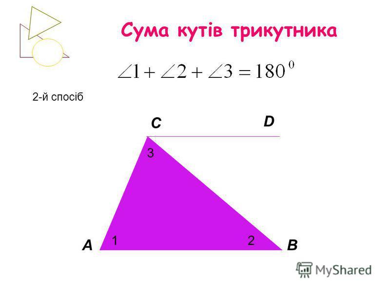 Сума кутів трикутника 2-й спосіб АВ С 12 3 D