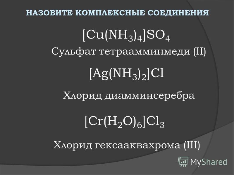 НАЗОВИТЕ КОМПЛЕКСНЫЕ СОЕДИНЕНИЯ [Cu(NH 3 ) 4 ]SO 4 Сульфат тетрааминмеди (II) [Ag(NH 3 ) 2 ]Cl Хлорид диаминсеребра Хлорид гексааквахрома (III) [Cr(H 2 O) 6 ]Cl 3