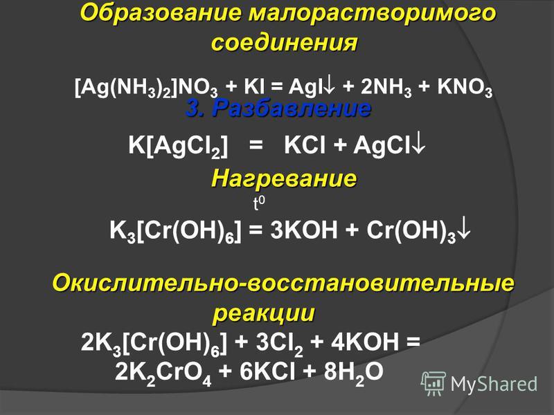 3. Разбавление K[AgCl 2 ] = KCl + AgCl Окислительно-восстановительные реакции Окислительно-восстановительные реакции 2K 3 [Cr(ОH) 6 ] + 3Сl 2 + 4KOH = 2K 2 CrO 4 + 6KCl + 8H 2 O Нагревание t 0 K 3 [Cr(ОH) 6 ] = 3KOH + Cr(OH) 3 Образование малораствор