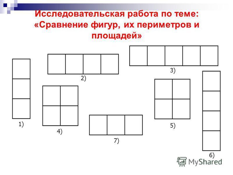 Исследовательская работа по теме: «Сравнение фигур, их периметров и площадей» 1) 2) 4) 3) 7) 5) 6)