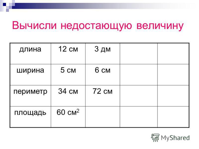 Вычисли недостающую величину длина 12 см 3 дм ширина 5 см 6 см периметр 34 см 72 см площадь 60 см 2