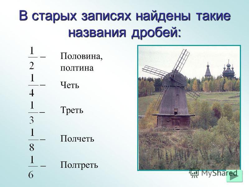 В старых записях найдены такие названия дробей: Половина, полтина Четь Треть Полчеть Полтреть