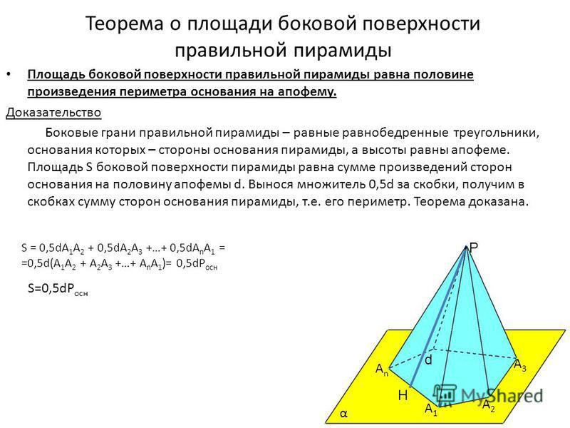 площадь боковой поверхности правильной пирамидф
