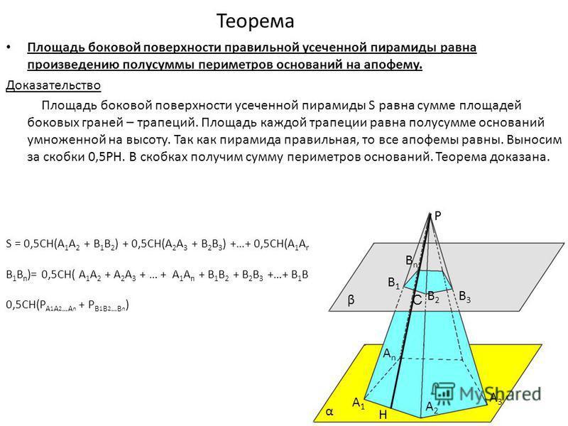 Теорема Площадь боковой поверхности правильной усеченной пирамиды равна произведению полусуммы периметров оснований на апофему. Доказательство Площадь боковой поверхности усеченной пирамиды S равна сумме площадей боковых граней – трапеций. Площадь ка
