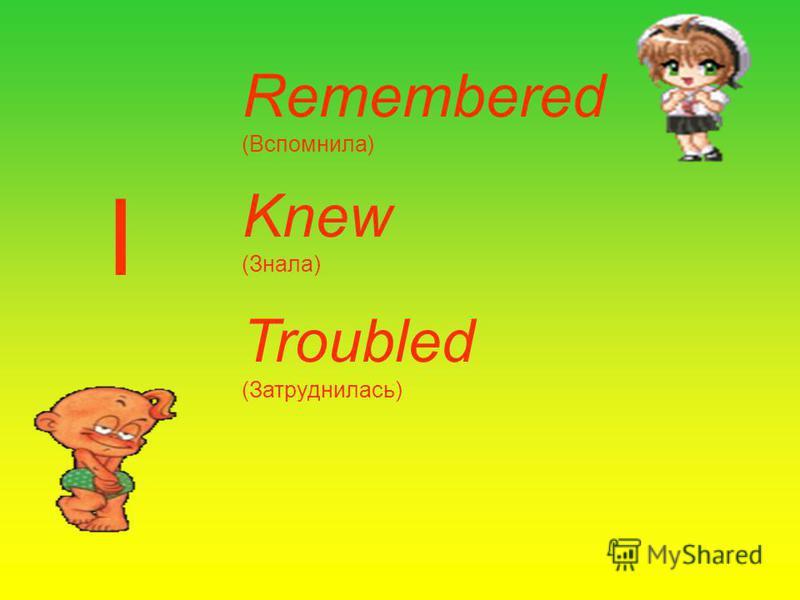 Remembered (Вспомнила) Knew (Знала) Troubled (Затруднилась) I