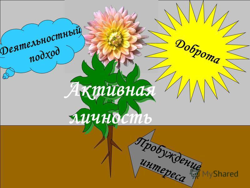 Деятельностный подход Пробуждение интереса Доброта Деятельностный подход Активная личность