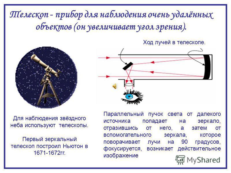 Для наблюдения звёздного неба используют телескопы. Первый зеркальный телескоп построил Ньютон в 1671-1672 гг. Ход лучей в телескопе. Параллельный пучок света от далекого источника попадает на зеркало, отразившись от него, а затем от вспомогательного